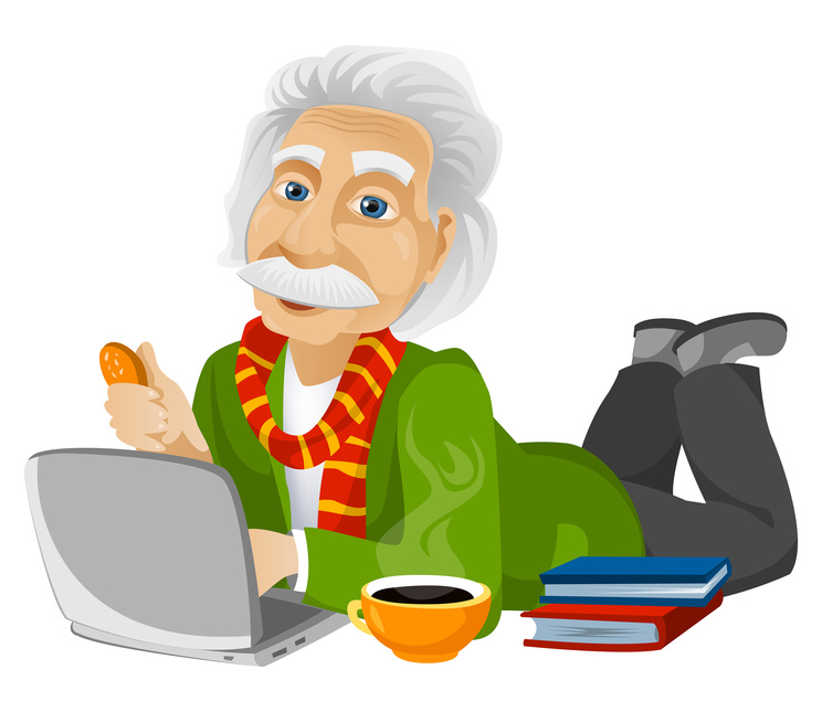 Cartoon Character Einstein Isolated on White Background. Vector EPS 10.