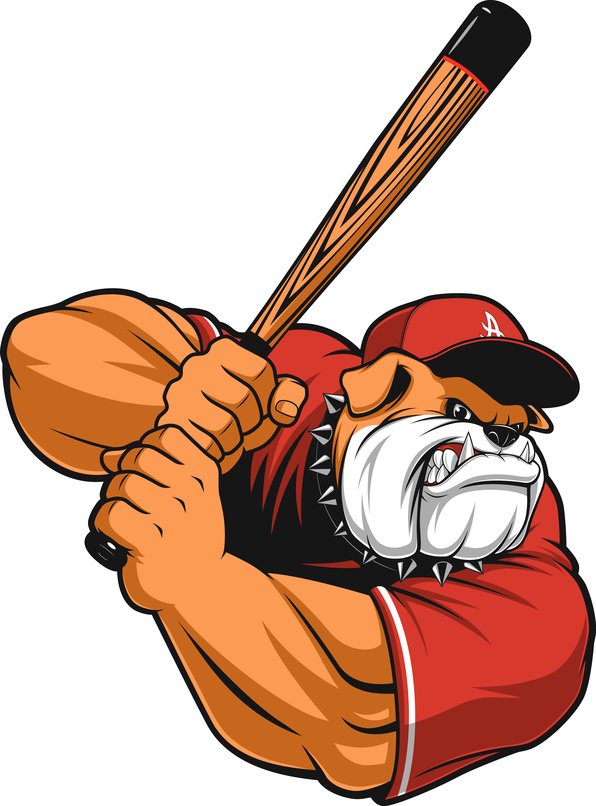 Vector illustration ferocious Bulldog baseball player hits a ball