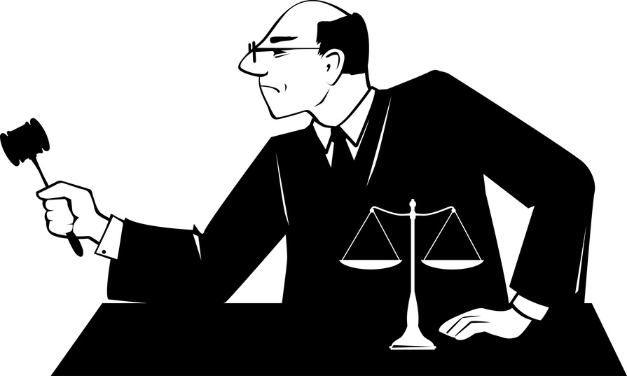 Male judge with a gavel presides over court proceeding, EPS 8 vector silhouette, no white objects