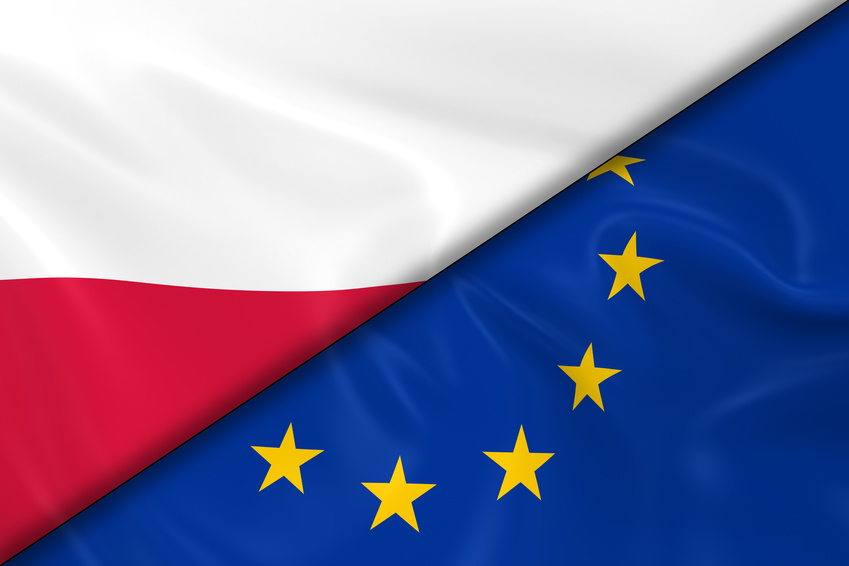 Flags of Poland and the European Union Divided Diagonally - 3D Render of the Polish Flag and EU Flag with Silky Texture