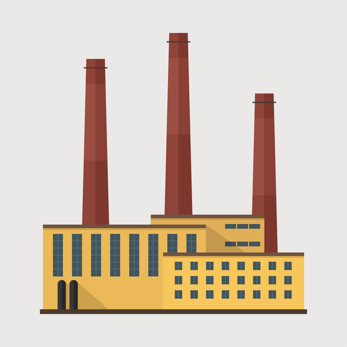 Factory building. Manufacturing factory building. Factory vector flat illustration. Industrial factory building. Factory icon. Manufacture building, industria building concept.